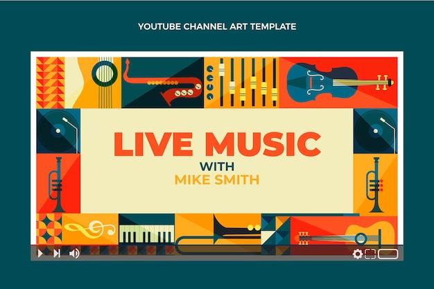Youtube-kanaal voor mozaïekmuziekfestival in vlakke stijl