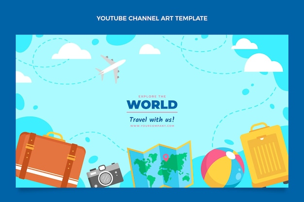Youtube-kanaal voor reizen in vlakke stijl