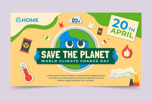 Youtube-kanaalafbeeldingen in papierstijl voor klimaatverandering