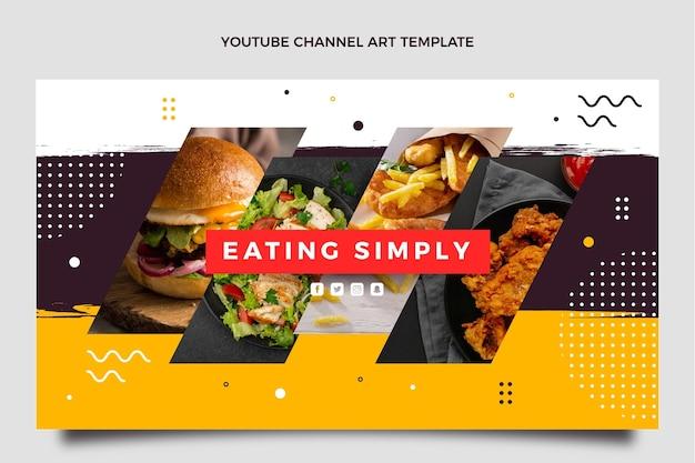 Youtube-kanaalafbeeldingen met plat ontwerp voor voedsel