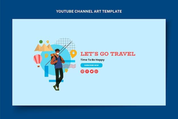 Youtube-kanaalafbeeldingen voor platte reizen Gratis Vector