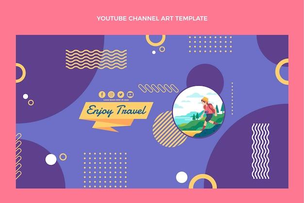 Youtube-kanaalsjabloon voor reizen met plat ontwerp