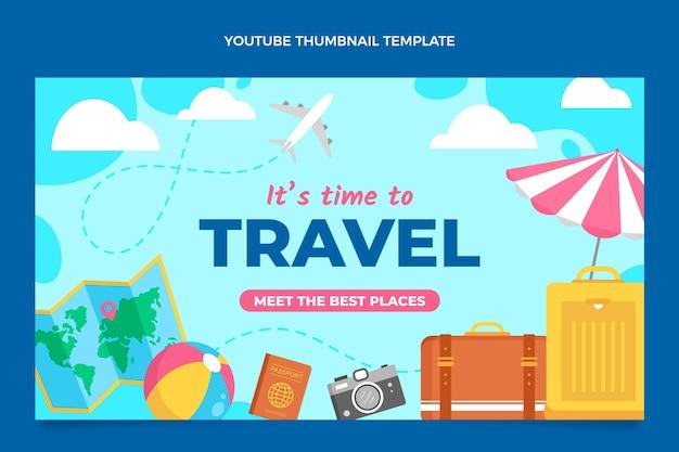 Youtube-miniatuur voor reizen in vlakke stijl