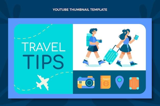 Youtube-miniatuur voor reizen met plat ontwerp