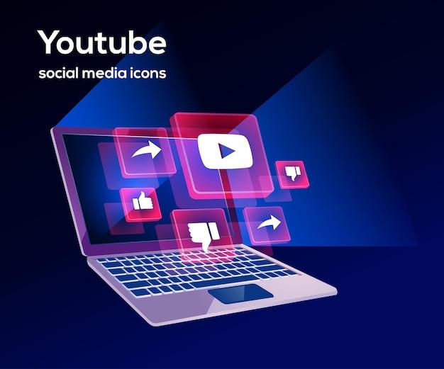 Youtube social media iconen met laptop-symbool