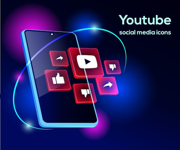 Youtube social media iconen met smartphone-symbool
