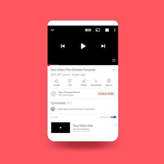 Youtube-telefoonscherm met platte ontwerpsjabloon
