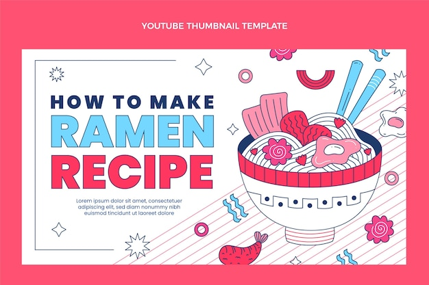 Youtube-thumbnail voor plat eten Premium Vector