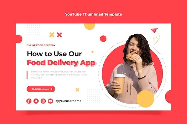 Youtube-thumbnail voor voedselbezorging met plat ontwerp
