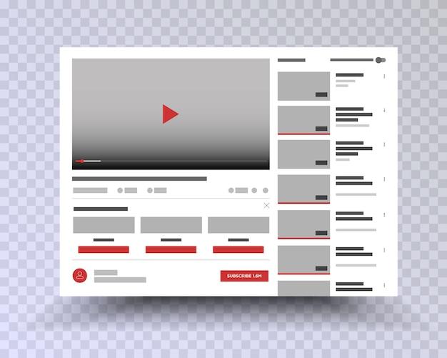 Youtube. vector browservenster met videospelerwebsite. gebruikers opmerkingen. mediaspeler-sjabloon. videospelerinterface