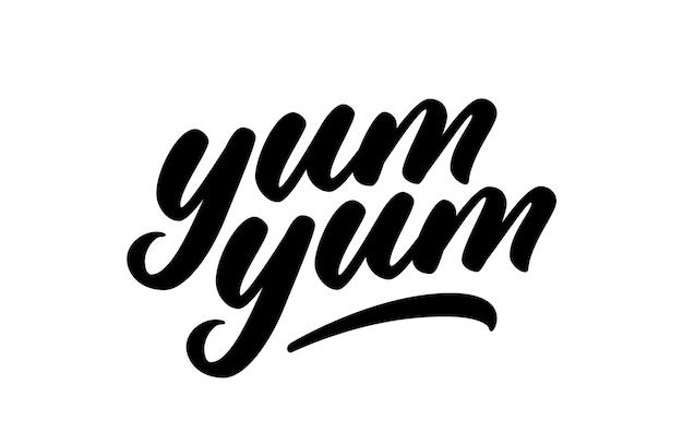 Yum yum handgeschreven tekst. vector cartoon belettering. moderne kalligrafie. hand belettering ontwerp om af te drukken.