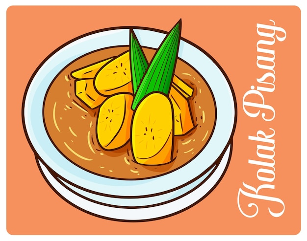 Yummy kolak pisang, een ramadan-dessert uit indonesië in eenvoudige doodle-stijl