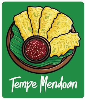 Yummy tempe mendoan een traditionele snack uit indonesië in cartoonstijl