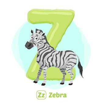 Z voor zebra. de stijl van de illustratietekening van alfabetdier voor onderwijs