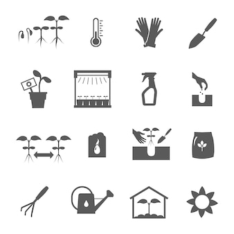 Zaailing zwart-witte pictogrammen geplaatst vlak geïsoleerde vectorillustratie