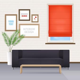 Zaal binnenland met meubilair en vensterzonneblinden