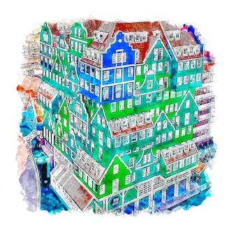 Zaandam netherland aquarel schets