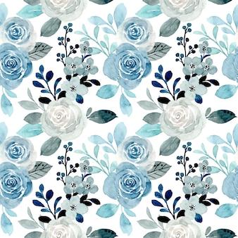 Zacht blauw bloemenwaterverf naadloos patroon