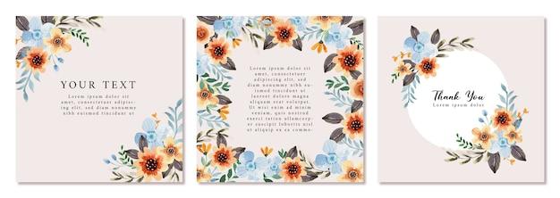 Zacht blauw en oranje aquarel vierkant frame