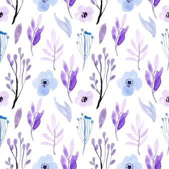 Zacht blauw paars bloemenwaterverf naadloos patroon
