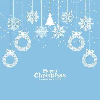 Zacht blauw vrolijk kerstfeest achtergrondontwerp