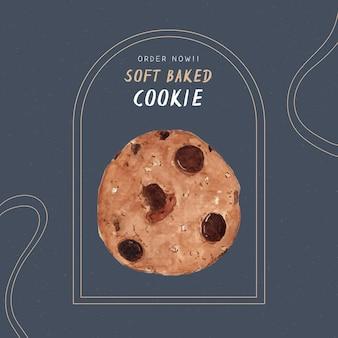 Zacht gebakken koekje, hand tekenen water kleur vector.