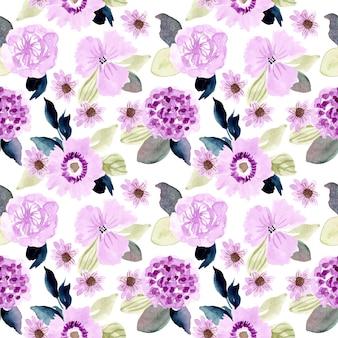 Zacht paars bloemenwaterverf naadloos patroon