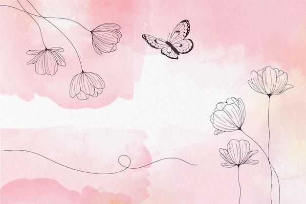Zacht pastel behang met bloemen