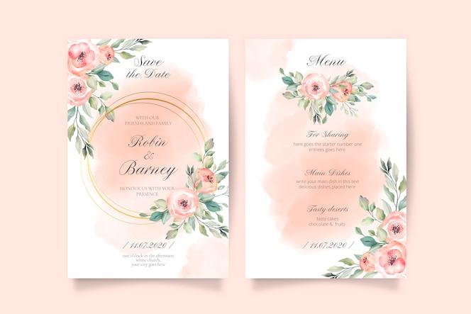 Zacht roze bruiloft uitnodiging en menusjabloon