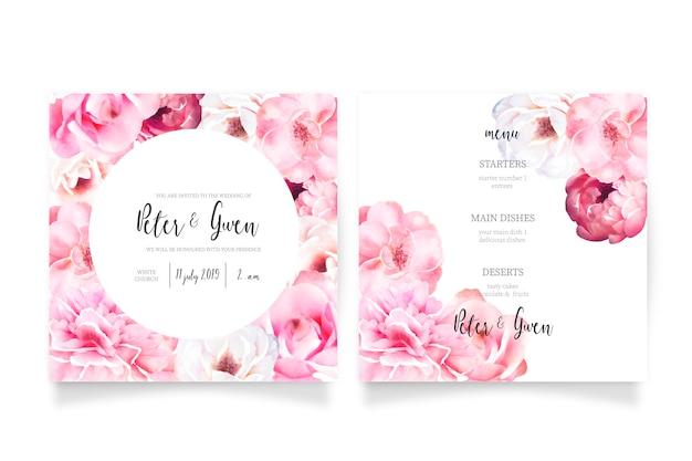 Zacht roze bruiloft uitnodiging sjabloon met menu