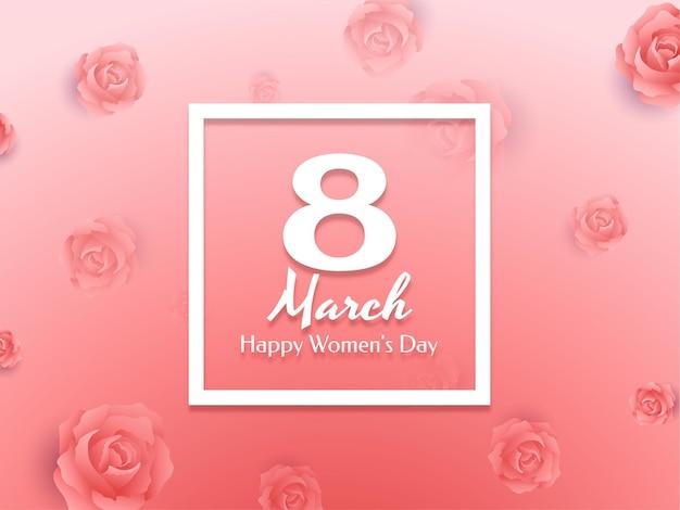 Zacht roze kleur happy women's day achtergrond