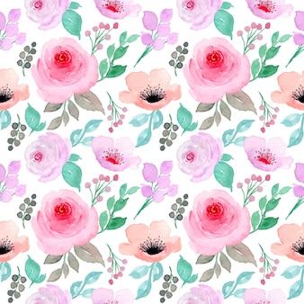 Zacht roze paars aquarel bloemen naadloos patroon