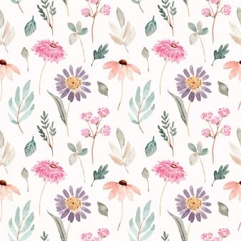 Zacht roze paars bloemenwaterverf naadloos patroon
