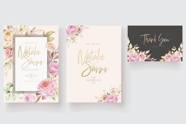 Zachte aquarel bloemen en bladeren uitnodigingskaart
