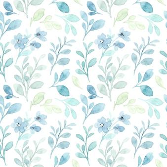 Zachte blauwe bladeren aquarel naadloze patroon