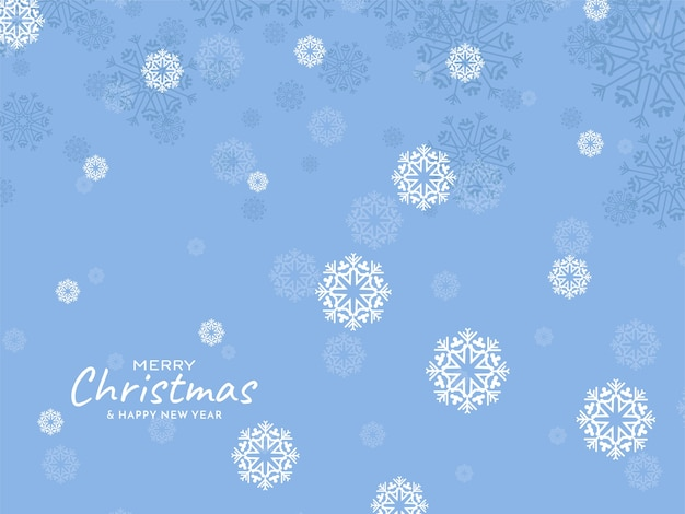 Zachte blauwe merry christmas decoratieve sneeuwvlokken achtergrond