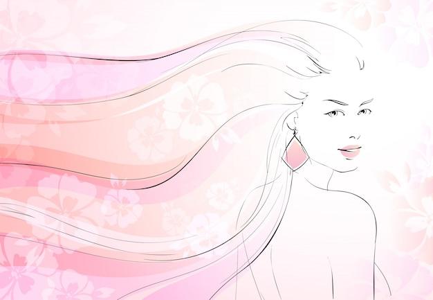 Zachte bloei achtergrond met jong meisje en lange golvende haren vector illustratie