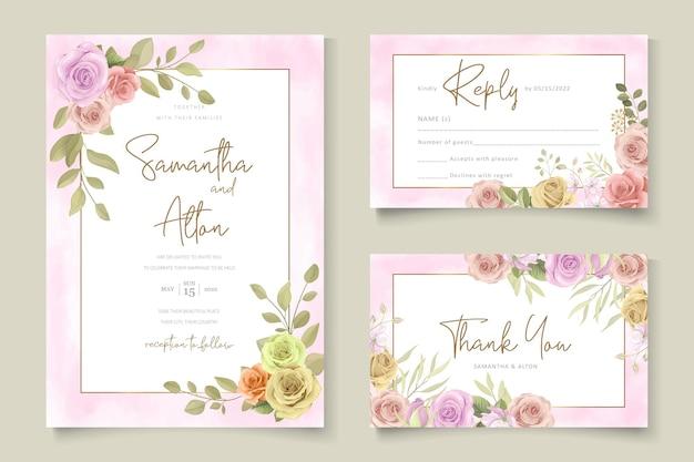 Zachte bloemen bruiloft uitnodiging sjabloon set