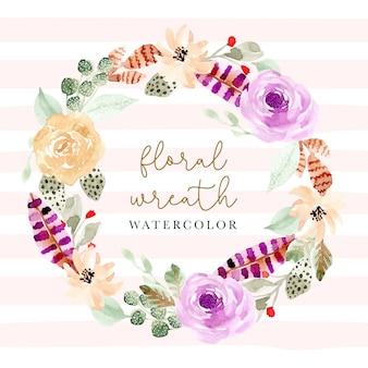 Zachte bloemen en veren aquarel krans