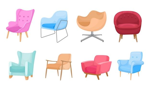Zachte fauteuil illustratie set