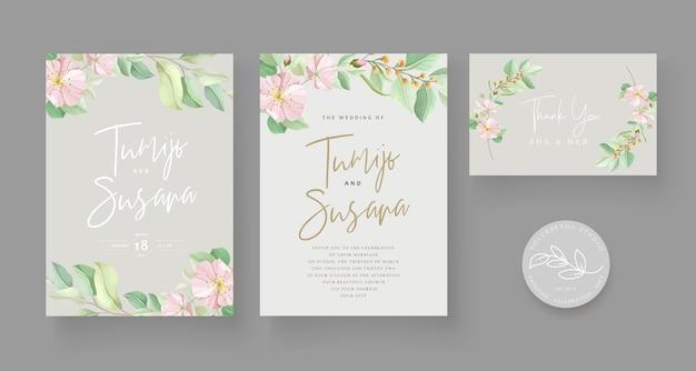 Zachte groene bloemen bruiloft kaartenset