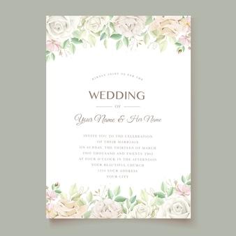 Zachte groene bloemen bruiloft uitnodiging kaartenset Premium Vector