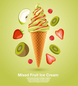 Zachte ijscoupe met gemengd fruit