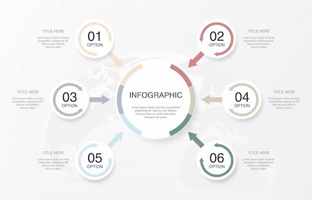 Zachte kleuren infographics cirkels en 6 nummer.