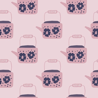 Zachte naadloze theepotten ornament naadloze patroon. kunstwerk met roze toonpalet. theepotelementen met bloemenprint.