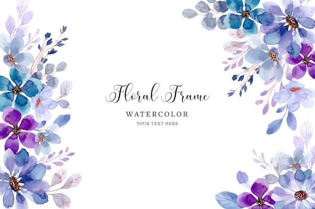 Zachte paarse bloemen frame achtergrond met waterverf