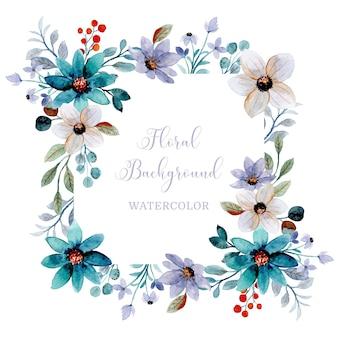 Zachte paarsgroene bloemenachtergrond met waterverf