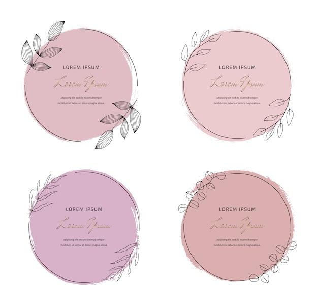 Zachte pastel roze ronde penseelstreek aquarel textuur met ronde bladeren frames instellen. geometrische vorm met hand tekenen aquarel wast.