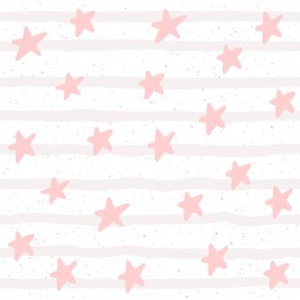 Zachte pastel ster naadloze achtergrond. roze lijn en ster. abstract patroon voor kaart, behang, album, plakboek, vakantiepapier, textielstof, kledingstuk, t-shirtontwerp enz.
