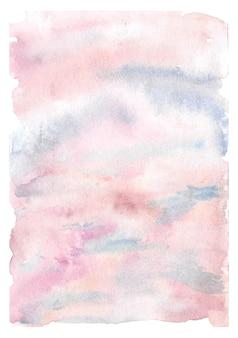 Zachte roze en blauwe bewolkte hemel aquarel achtergrond